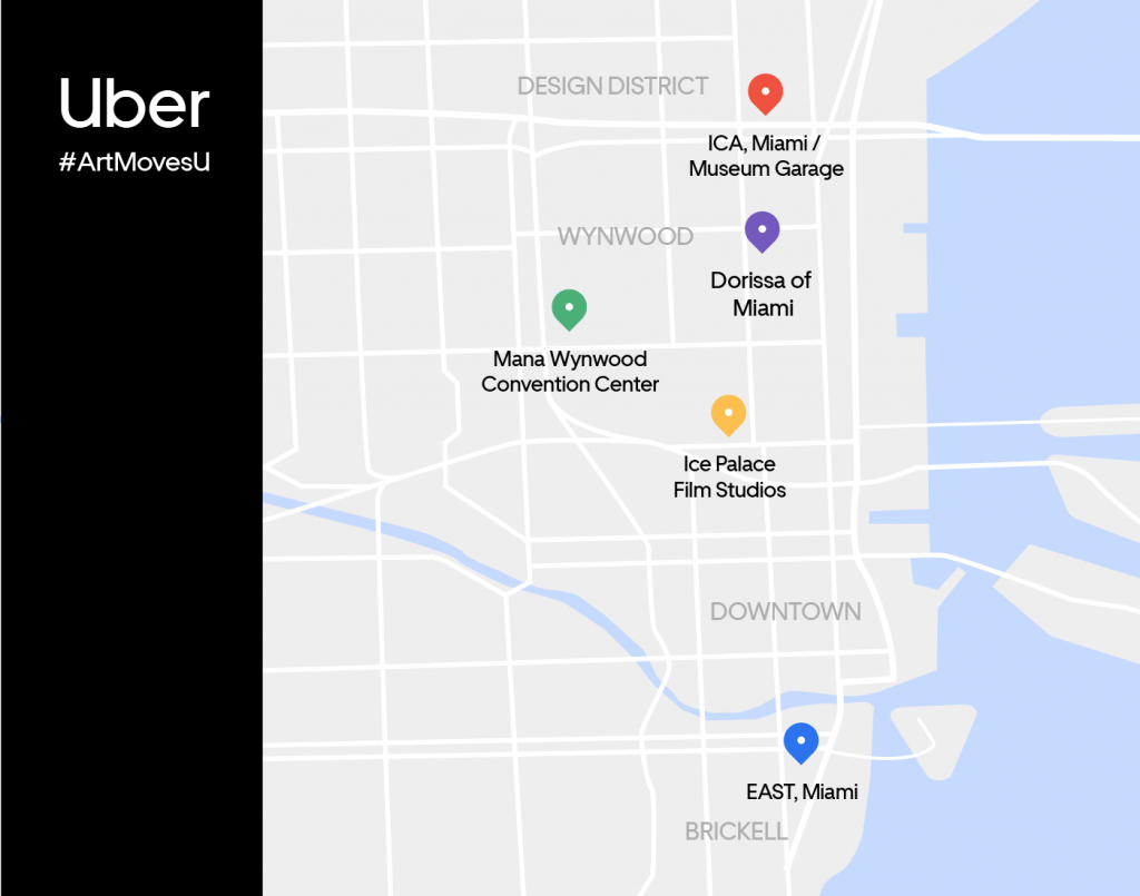 From December 4 – 8, look for these statues and get picked up and dropped off at the locations shown on this map.